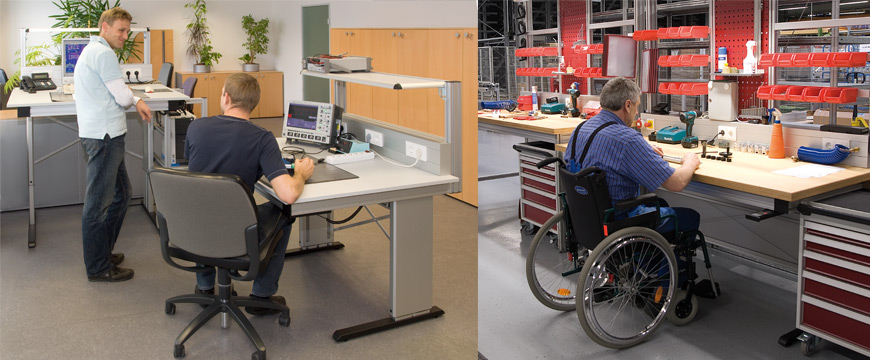 Ergonomically adaptable (height adjustable) standing/sitting workstations