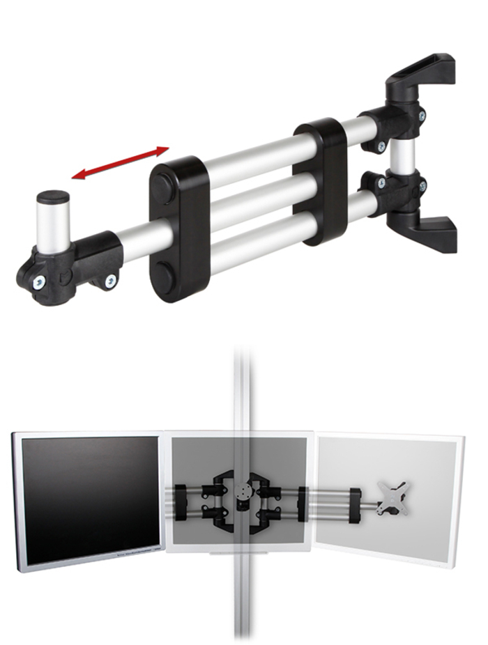 The support arm telescope is also ideal for use as a monitor holder (2/3-fold) in control rooms, etc. Height-adjustable, swivelling and extendable!