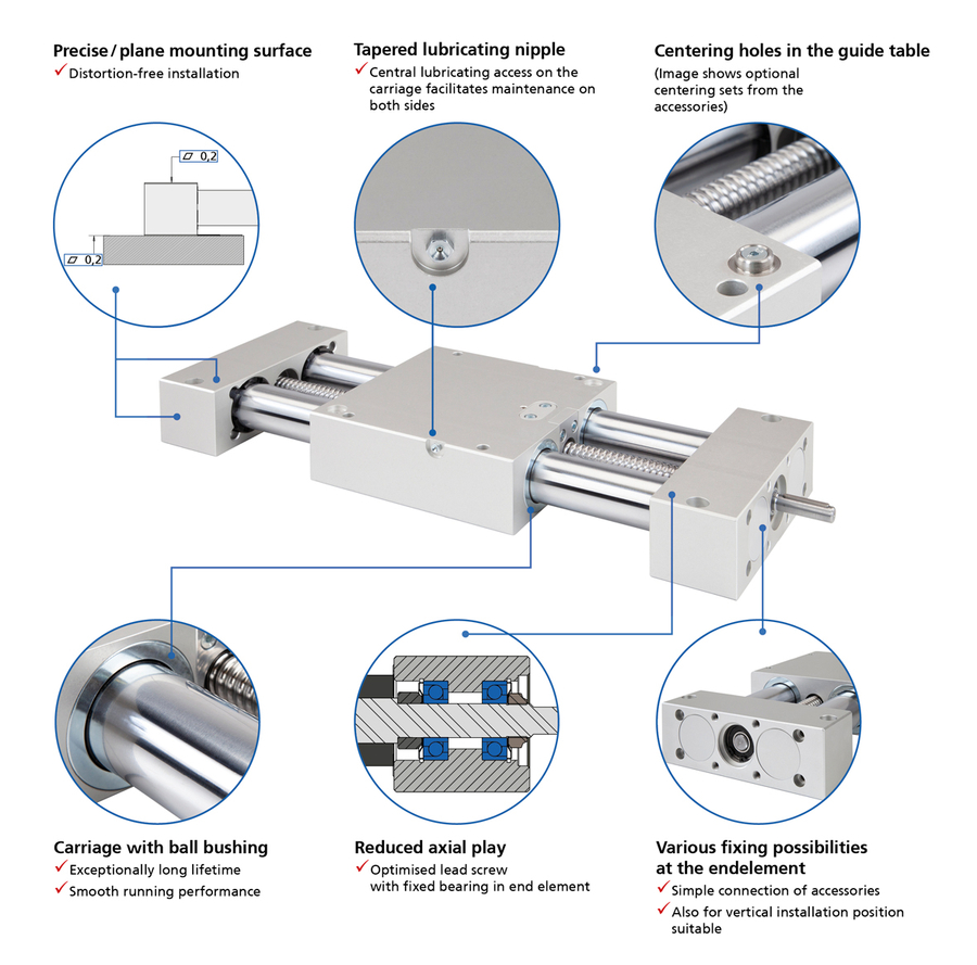 Twin-tube linear actuator with ball screw drive