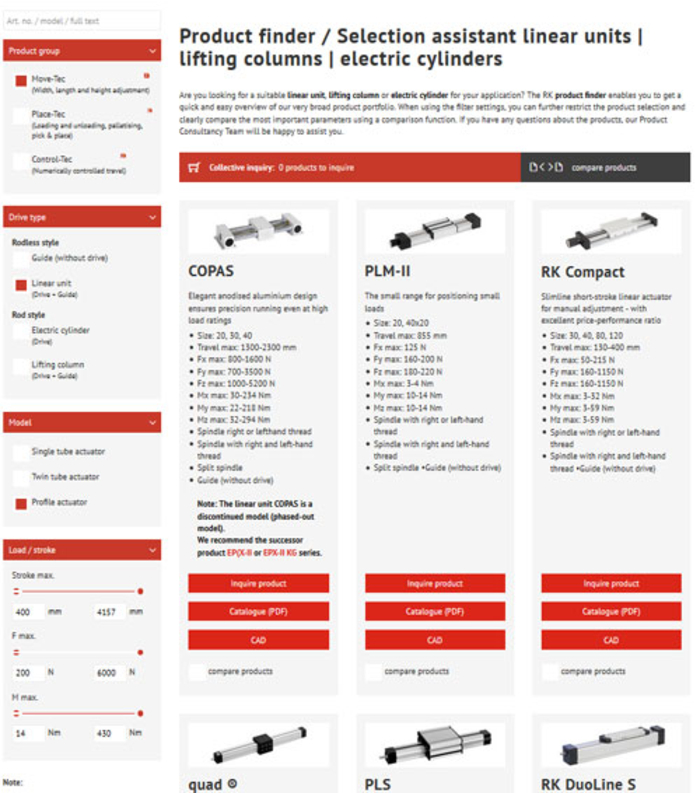 Product finder linear units | lifting columns | electric cylinders